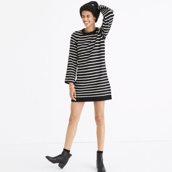 Madewell Striped Button Sleeve Sweater Dress a19a5e5cc